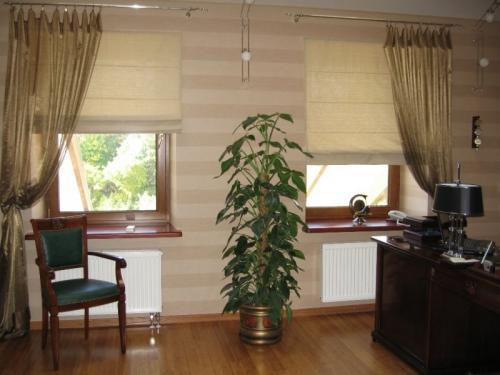римские шторы в интерьере кабинета